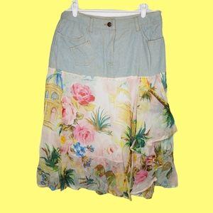 Vintage denim patchwork lagenlook layer skirt 10